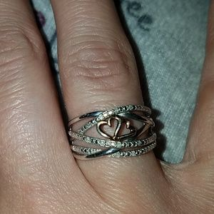 Sterling silver ring with 2 rose gold  hearts